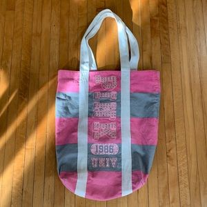 VS Pink Rare Striped Rhinestone Canvas Bag
